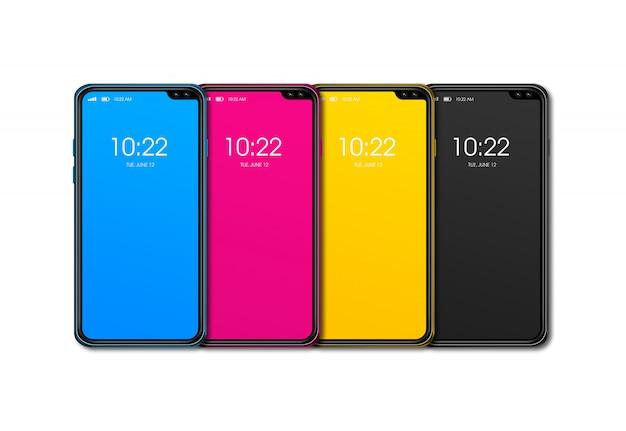 Conjunto de teléfono inteligente cmyk aislado en superficie blanca. render 3d