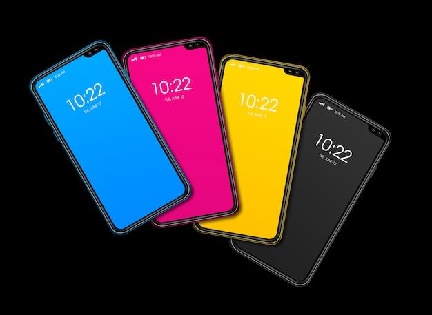 Conjunto de teléfonos inteligentes cmyk aislado