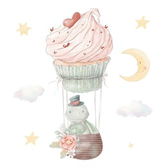 Conjunto de tortuga de dibujos animados lindo en un globo de aire caliente. ilustración de acuarela.