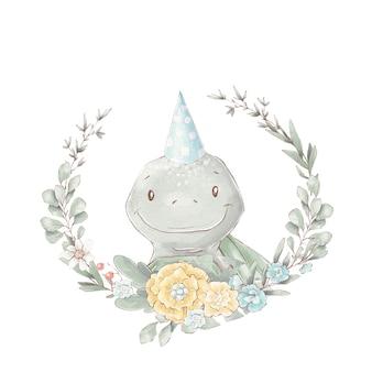 Conjunto de tortuga de dibujos animados lindo y marco de flores. ilustración de acuarela.