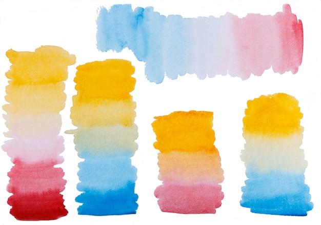 Conjunto de trazos de pincel degradado acuarela pintados a mano