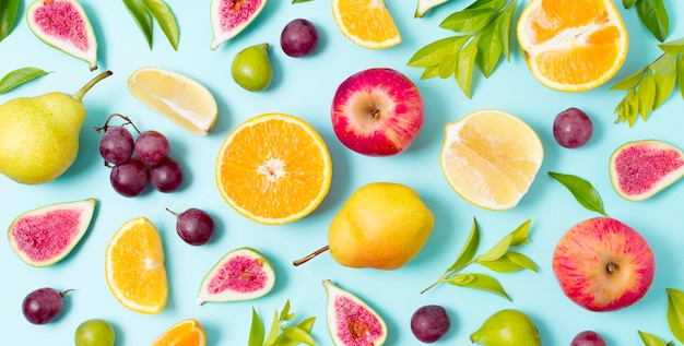 Conjunto de vista superior de frutas y verduras frescas