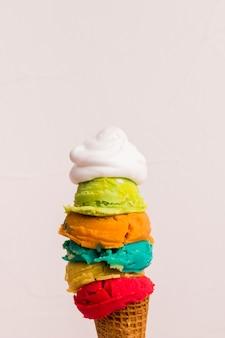 Cono con bolas de helado en varios colores.