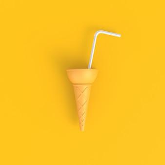 Cono de helado con el fondo amarillo mínimo abstracto de las pajas de beber blancas