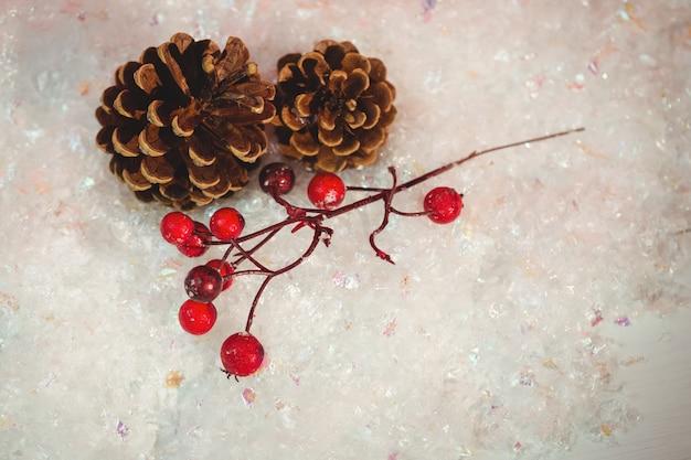Cono de pino y cereza roja sobre nieve