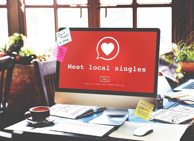 Conoce a los solteros locales que datan de valantine romance heart love passion concept