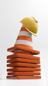 Conos de tráfico conos de carretera casco de seguridad renderizado 3d