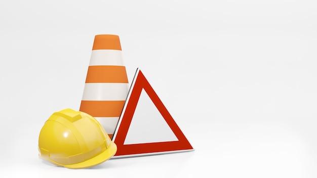 Conos de tráfico conos de carretera casco de seguridad y señal de tráfico representación 3d