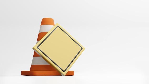 Conos de tráfico conos de carretera y señal de tráfico representación 3d