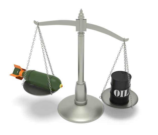 Consecuencias de las guerras del petróleo. imagen generada digitalmente aislada sobre fondo blanco. representación 3d