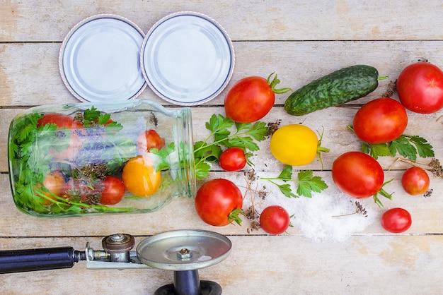 Conservación, decapado de hortalizas de tomates y pepinos. enfoque selectivo