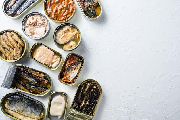Conservar latas de pescado con diferentes tipos de pescado y marisco.