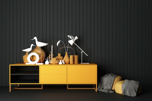 Consola gabinetes amarillos y decoraciones arriba con taburete amarillo representación 3d