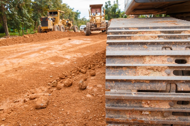 Construcción de carreteras en un sitio de trabajo