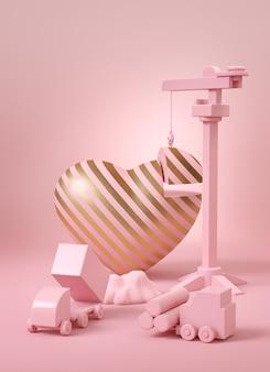 Construcción de corazón de rayas doradas con grúa