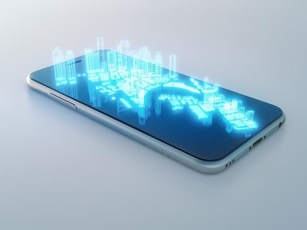 Construcción de hologramas en teléfonos inteligentes en iot o concepto de ciudad inteligente