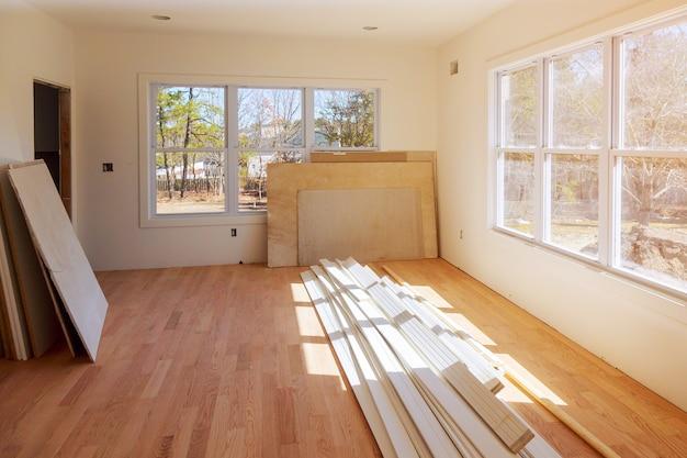 Construcción industria de la construcción nueva construcción de casas interiores paneles de yeso y detalles de acabado