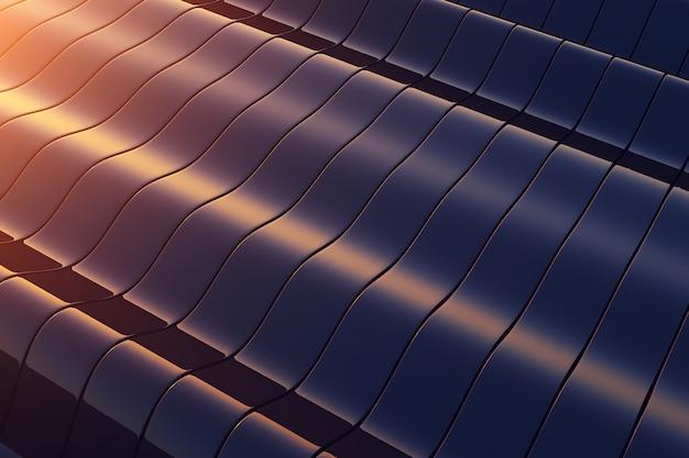 Construcción de metal negro ondulado. fondo abstracto