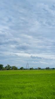Construcción de torres de transmisión de alta tensión con paisaje de granja.