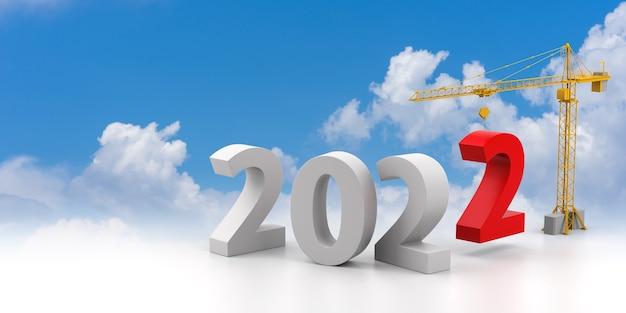 Construya el concepto de futuro. grúa torre con signo del año 2022 sobre un fondo de nubes. representación 3d