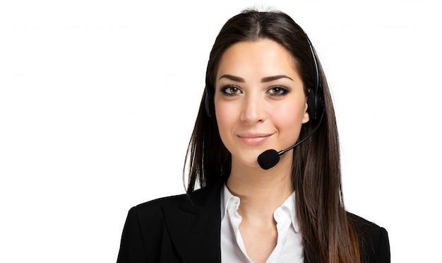 Consultor de call center en auriculares en blanco
