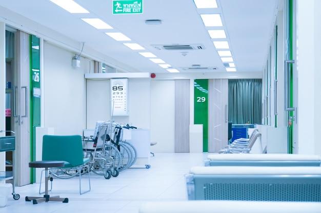Consultorio hospitalario interior con consultorio médico, cuadro de exámenes oftalmológicos y servicio de silla de ruedas, consultorio oftalmológico equipo de examen visual. dispositivos para el tratamiento de la visión