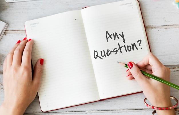 Contáctenos pregunta concepto de soporte de servicio al cliente