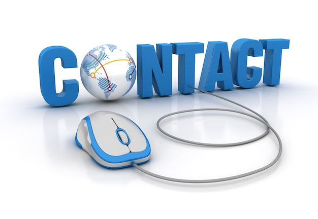 Contacto palabra 3d con globe world y computer mouse
