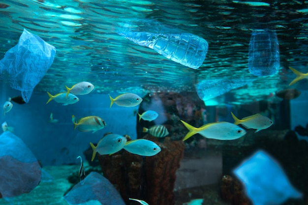 Contaminación ambiental de botella plástica de agua en el océano.