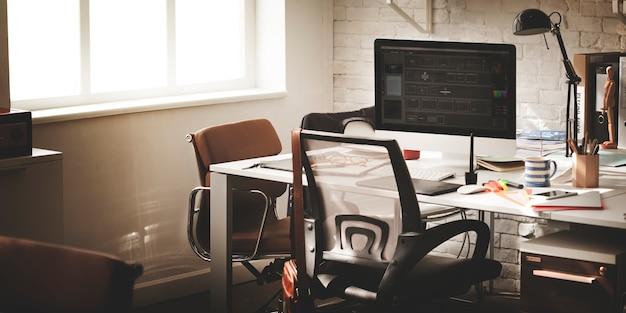 Contemporáneo lugar de trabajo lugar oficina suministros concepto