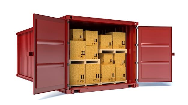 Contenedor abierto con cajas de cartón.