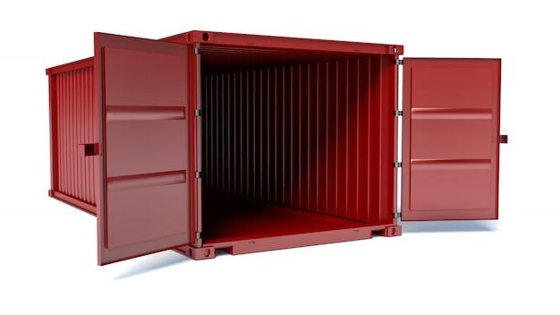 Contenedor de carga rojo abierto aislado, vista frontal