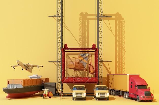 Contenedores de envío colgando de una grúa con remolque y scooter y furgoneta. concepto de comercio empresarial global 3d. representación 3d