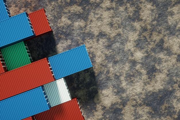 Contenedores marítimos multicolores, puerto industrial con contenedores, contenedores de carga. concepto de logística, entrega rápida. representación 3d, visualización 3d, ilustración 3d.