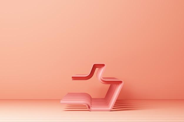 Contorno lineal pulgar arriba icono con representación 3d rosa