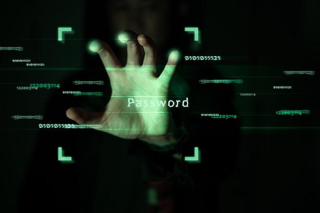 Contraseña de desbloqueo de hacker concepto de ciberdelito.