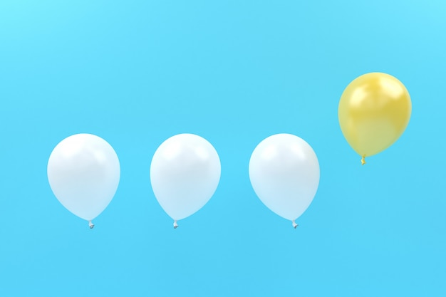 Contraste globo blanco y amarillo vuela en color pastel aire
