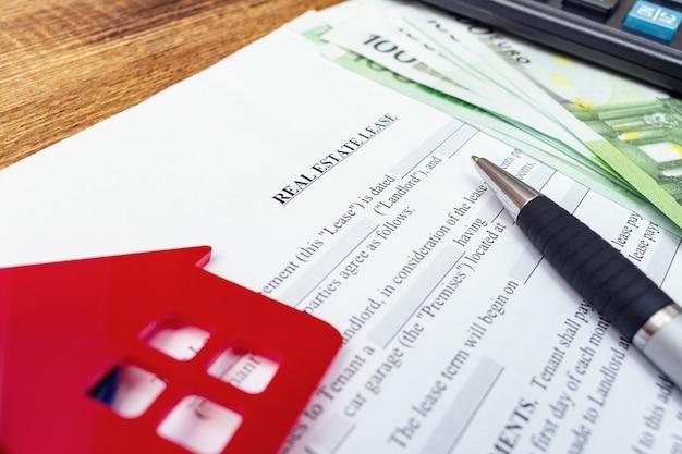 Contrato de contrato de alquiler de casa, hogar, propiedad, arrendamiento inmobiliario