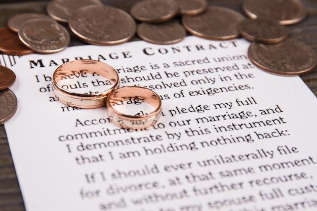 Contrato de matrimonio y anillos de boda. pila de monedas.