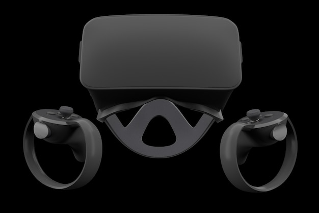 Controladores y gafas de realidad virtual para juegos en línea aislados en negro