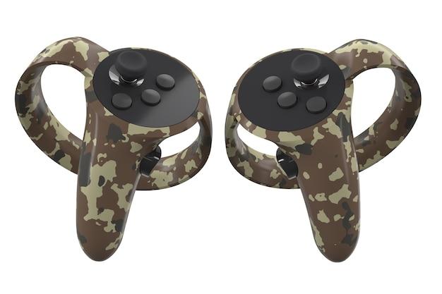 Controladores de realidad virtual para juegos en línea y en la nube aislados en blanco