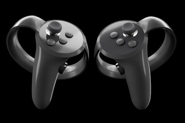 Controladores de realidad virtual para juegos en línea y en la nube aislados en negro