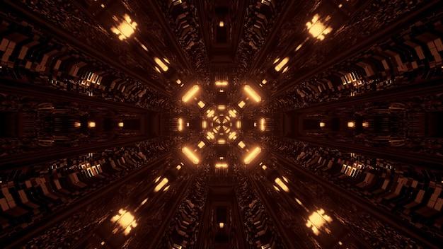 Cool amarillo 3d renderizado futurista ciencia ficción tecno luces - un fondo de pantalla genial