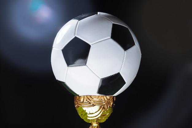 Copa de fútbol con balón de fútbol sobre hierba