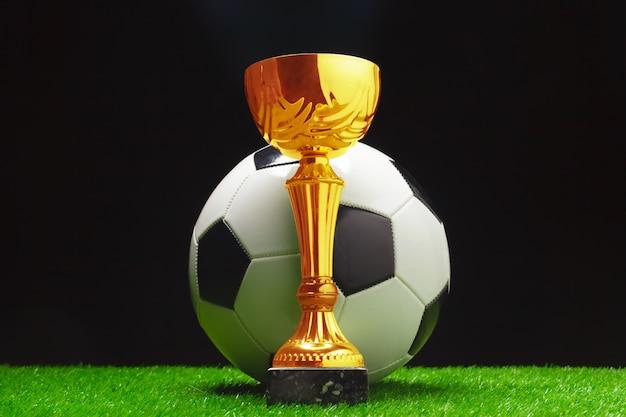 Copa de fútbol con pelota de fútbol sobre césped