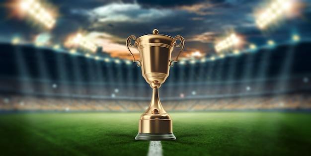 Copa de oro en el fondo del estadio.