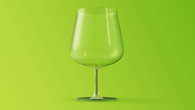 Copa de vino maqueta de renderizado 3d sobre fondo verde