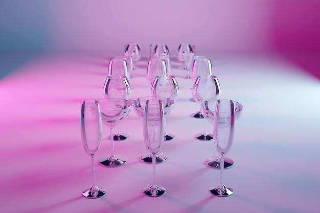 Copas de ilustración 3d para champán, whisky, coñac, martini, vasos pequeños sobre un fondo rosa aislado