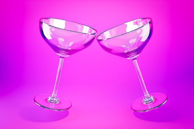 Copas de martini de vidrio de ilustración 3d sobre una superficie rosa.