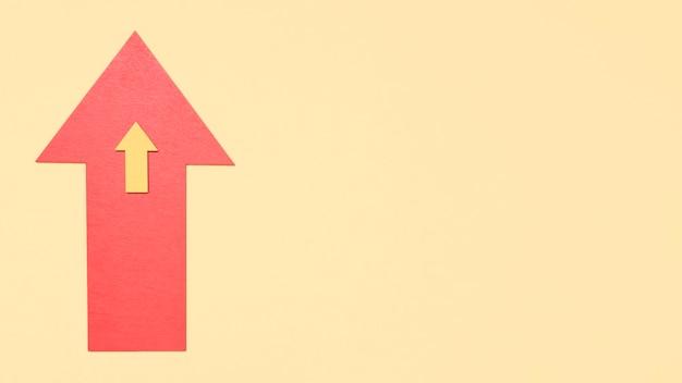 Copia-espacio flecha en diferentes tamaños